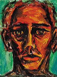 #2 ~ Aller - Untitled - Self Portrait with Red, Yellow and Green Background
