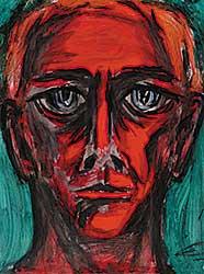 #5 ~ Aller - Untitled - Self Portrait with Dark Green Background
