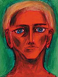 #6 ~ Aller - Untitled - Self Portrait with Bright Green Background