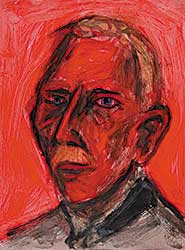 #10 ~ Aller - Untitled - Old Man with Blue Eyes on Red Background