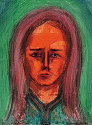 #11 ~ Aller - Untitled - Woman with Grey Eyes, Red Lips and Long Hair on Green Background