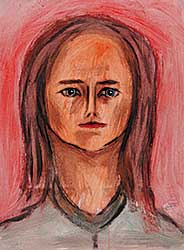 #12 ~ Aller - Untitled - Woman with Blue Eyes, Red Lips and Long Hair on Red Background