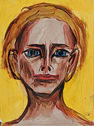 #13 ~ Aller - Untitled - Woman with Blue Eyes, Red Lips on Yellow Background