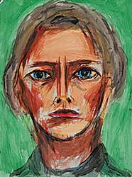 #14 ~ Aller - Untitled - Woman with Blue Eyes, Red Lips on Green Background