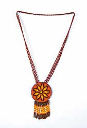 #39 ~ Aller - Untitled - Red Beaded Necklace and Moose Hide with Bead Pendant
