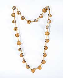 #52 ~ Aller - Untitled - Curled Birch Bark Necklace with Birch Beads on Moose Hide