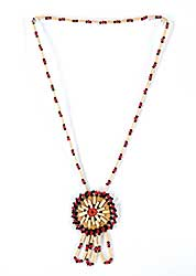 #61 ~ Aller - Untitled - Red and Black Beads with Quill and Moose Hide Pendant Necklace