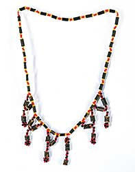 #68 ~ Aller - Untitled - Yellow, Orange and Black Beads with Twig Necklace
