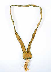#70 ~ Aller - Untitled - Beaded Muskrat Skull on Moose Hide Necklace