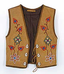#75 ~ Aller - Untitled - Moose Hide Vest with Antler Buttons and Beads