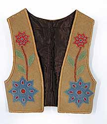 #80 ~ Aller - Untitled - Moose Hide Vest with Appliqued Flowers