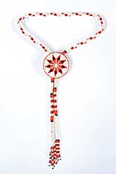 #85 ~ Aller - Untitled - Orange, Blue and White Beaded Rope Bolo Necklace