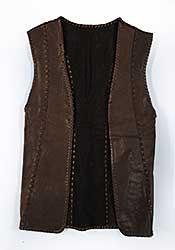 #86 ~ Aller - Untitled - Long Dark Brown Leather Vest
