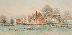 #122 ~ Verner - Untitled - Village with Sheep