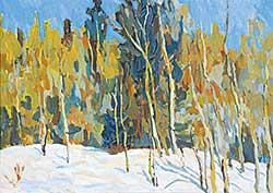 #1398 ~ Van Belkum - Brushes and Evergreens in Snow, Cypress Hills