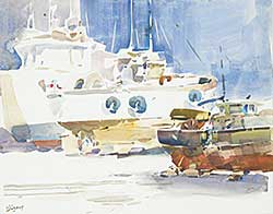 #1087 ~ Jurgens - Untitled - Docked at the Harbour