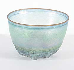 #1498 ~ Vallien - Translucent Green Bowl with Sandcast Base