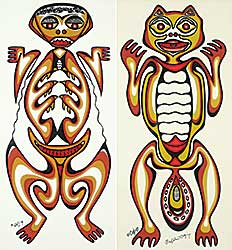 #106 ~ Odjig - <B>LOT OF TWO</B> Untitled - Beaver Spirit <B>AND</B> Untitled - Frog Spirit