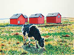 #480 ~ Olson - Grazing Cow and Four Red Sheds
