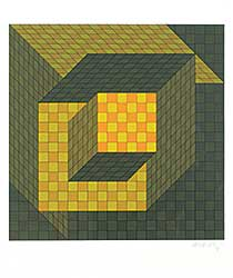 #1338 ~ Vasarely - Untitled - Cubist Dream  #III/XXV