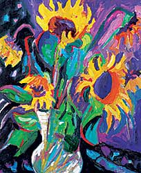 #1400 ~ Thirkettle - Untitled - Colourful Sunflowers