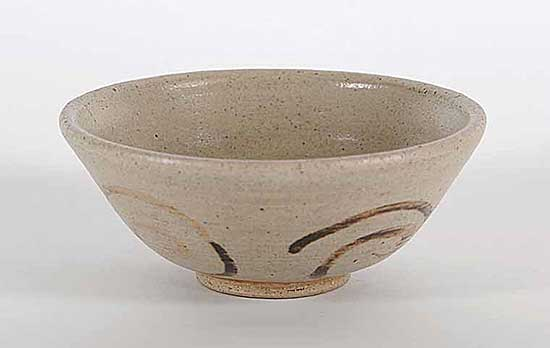 #45 ~ Osborne - Untitled - Neutral Coloured Bowl with Brown Swirl Pattern