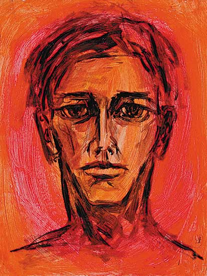#3 ~ Aller - Untitled - Self Portrait with Pink and Red Background I