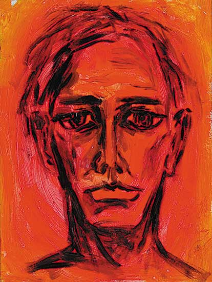 #4 ~ Aller - Untitled - Self Portrait with Pink and Red Background II