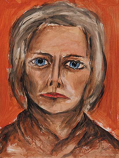 #15 ~ Aller - Untitled - Woman with Blue Eyes, Red Lips on Brown Background