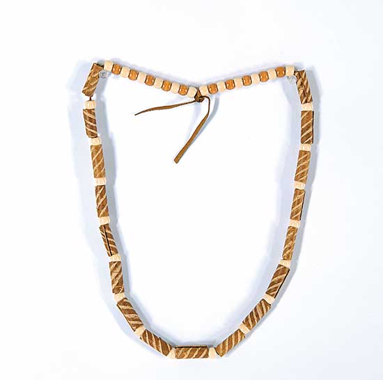 #32 ~ Aller - Untitled - Birch Necklace with Spruce Dye and Wood Beads