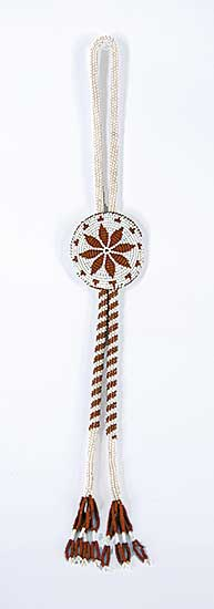 #33 ~ Aller - Untitled - Brown and White Beaded Necklace with Leather and Bead Bolo