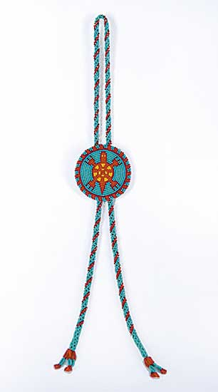 #35 ~ Aller - Untitled - Blue and Red Beaded Necklace with Leather and Bead Bolo