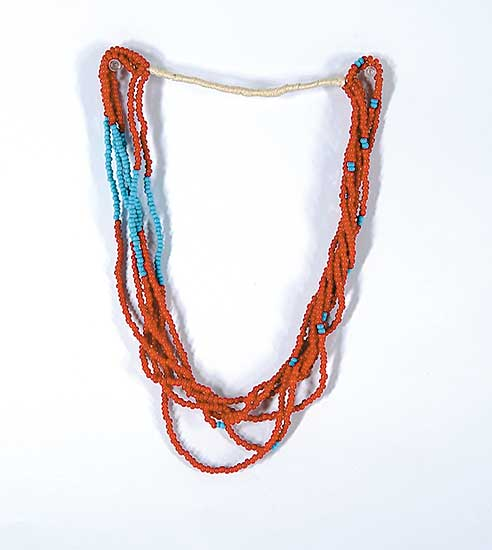 #46 ~ Aller - Untitled - Red and Blue Beaded Necklace