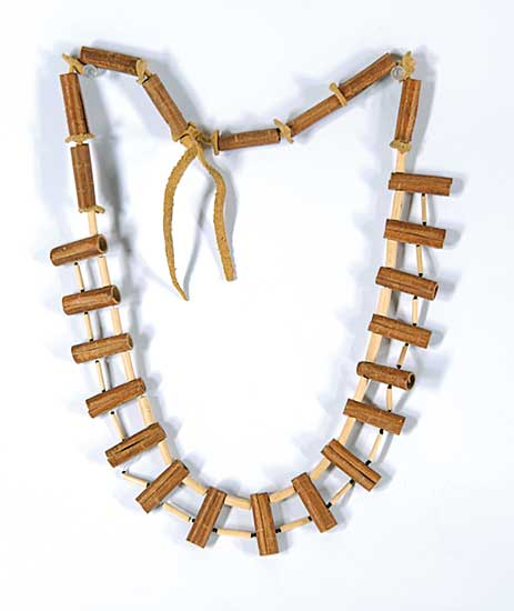 #55 ~ Aller - Untitled - Rolled Birch Bark Necklace with Black Beads on Moose Hide