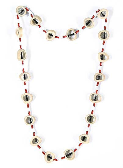 #57 ~ Aller - Untitled - Moose Bone with Red, White and Black Beads Necklace