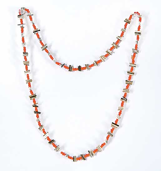 #59 ~ Aller - Untitled - Orange Beads and Porcupine Quill Necklace