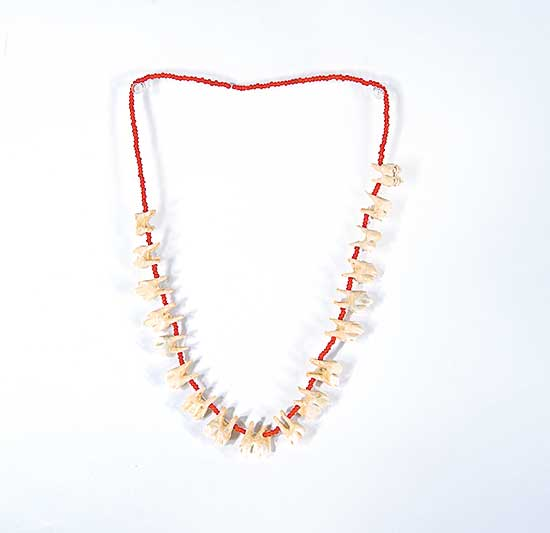 #65 ~ Aller - Untitled - Caribou Teeth and Red Beads Necklace