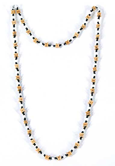 #66 ~ Aller - Untitled - Fish Vertebra with Black and White Beads Necklace