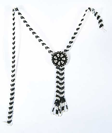 #71 ~ Aller - Untitled - Black and White Beads Bolo Necklace