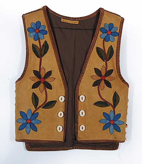 #79 ~ Aller - Untitled - Moose Hide Vest with Leather Applique and Antler Buttons