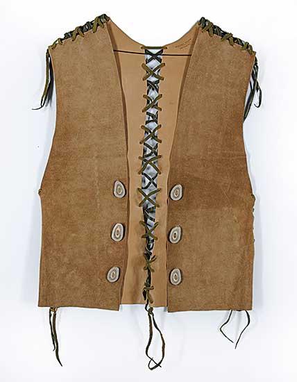 #81 ~ Aller - Untitled - Cow Hide Vest with Deer Antler Buttons