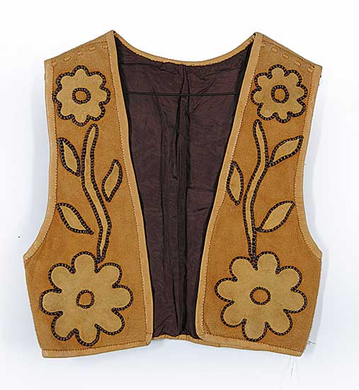#83 ~ Aller - Untitled - Leather Vest with Applique Flowers