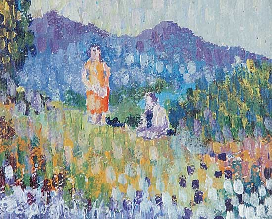 #765 ~ Quesada Huete - Untitled - Picnic in the Meadow