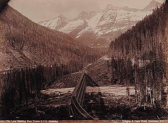 #151 ~ Trueman and Caple - 1017 - The Loop Showing Four Tracks C.P.R. [Selkirks]