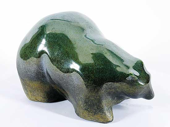 #1611 ~ Evans - Glazed Green Raku Bear
