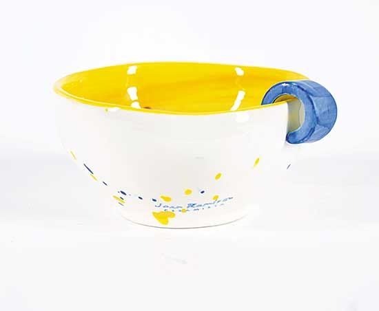 #1630 ~ Ramiros - Untitled - White and Yellow Fanciful Cup