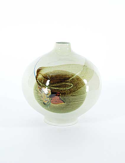 #1229 ~ O'Young - Green with Brown Design Vase