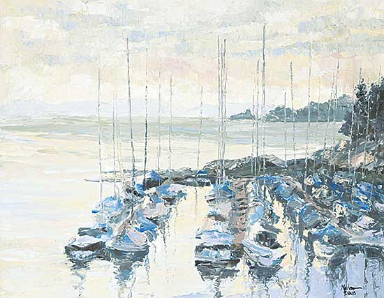 #1071 ~ Evans - Untitled - Sailing Ships in the Harbour