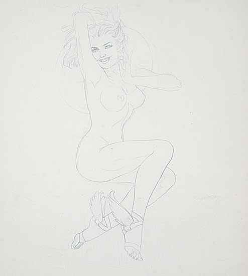 #323 ~ Vargas - Untitled - Study of a Young Nude with Wings on Her Feet
