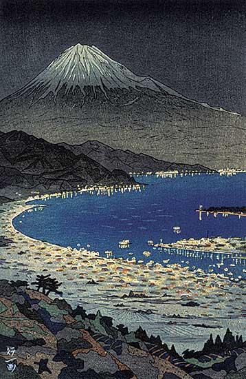#1207 ~ Okada - Untitled - Harbour Below Mount Fuji